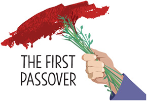 Passover Clip-Art image of branches painting a swath of blood as over a doorpost