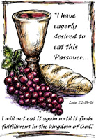 Passover Clip-Art Image of Cup, grapes and bread with Luke 22:15 scripture reference