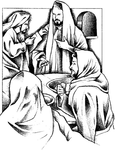 Passover Clip-Art black and white image of Jesus and his disciples at the last supper