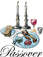 Passover Clip-Art image of a seder meal with candles, food, wine and bread and Passover caption