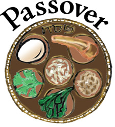 Passover Clip-Art Image of a Seder Meal on a round plate