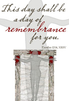 Passover Clip-Art with Exodus 12:14 scripture reference and doorposts with blood that appears as a figure on a cross