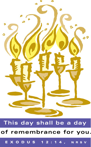 Passover Clip-Art Image of candles with This Day shall be a day of remember for you caption