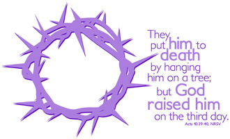Purple crown of thorns with Resurrection Caption in Purple