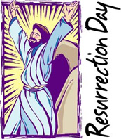 Christ with hands raised with Resurrection Day Caption