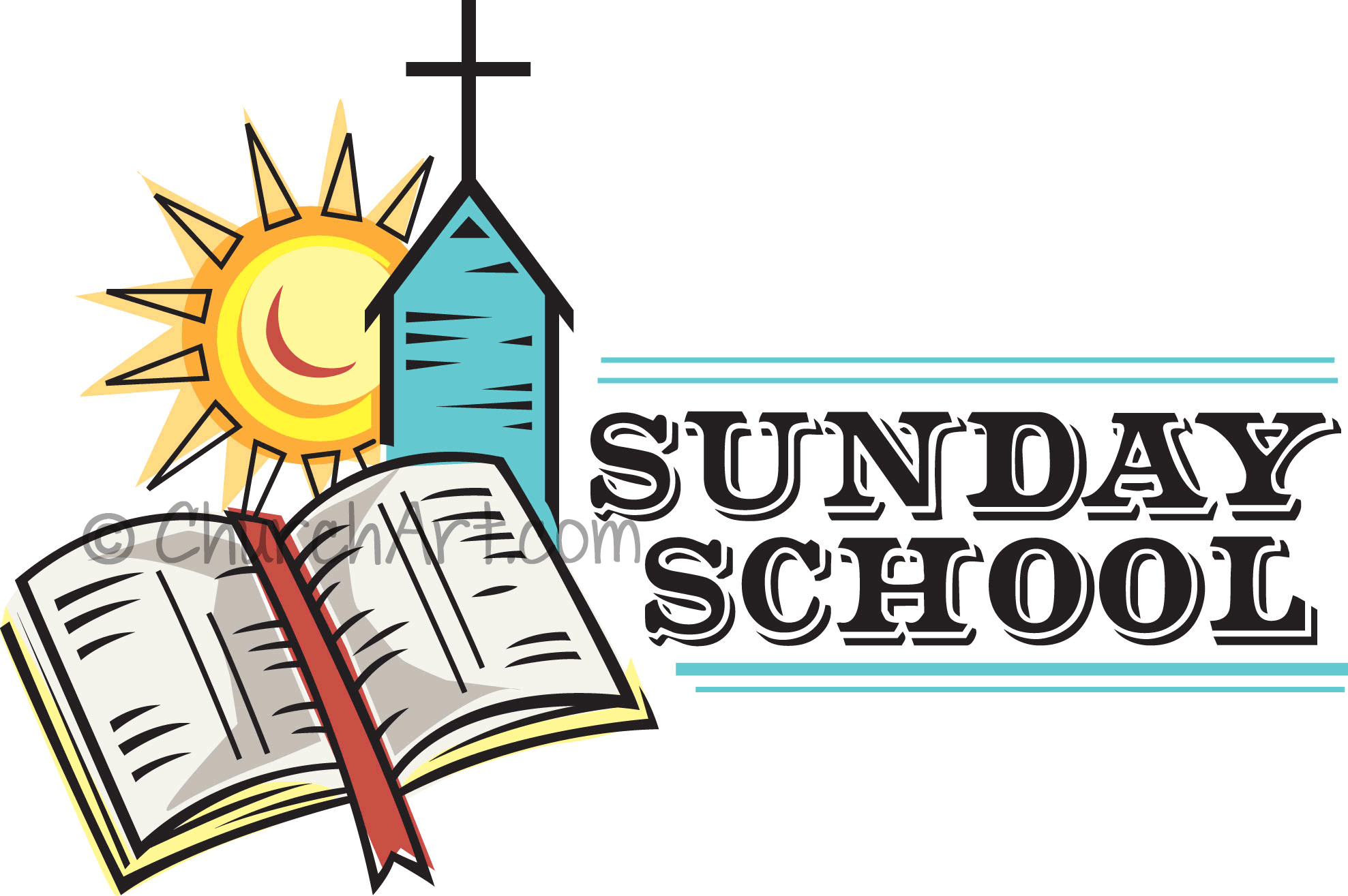 Clip-art image for church Sunday school featuring bible with bookmark, church with cross steeple and sun