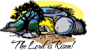 Clipart with Empty Tomb and a White Linen declaring The Lord is Risen!