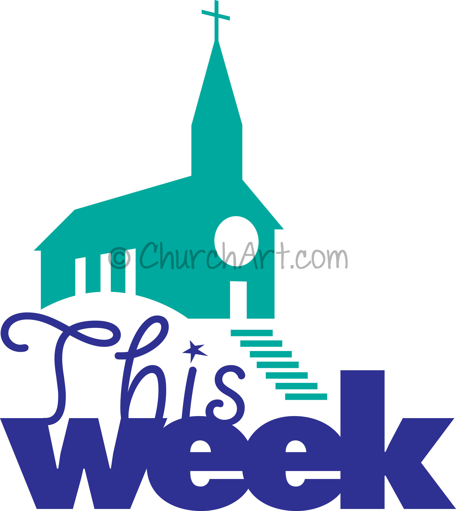 Clipart for upcoming church events this week featuring church with cross and steeple