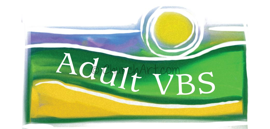 Vacation Bible School Clip-Art image with Adult VBS caption