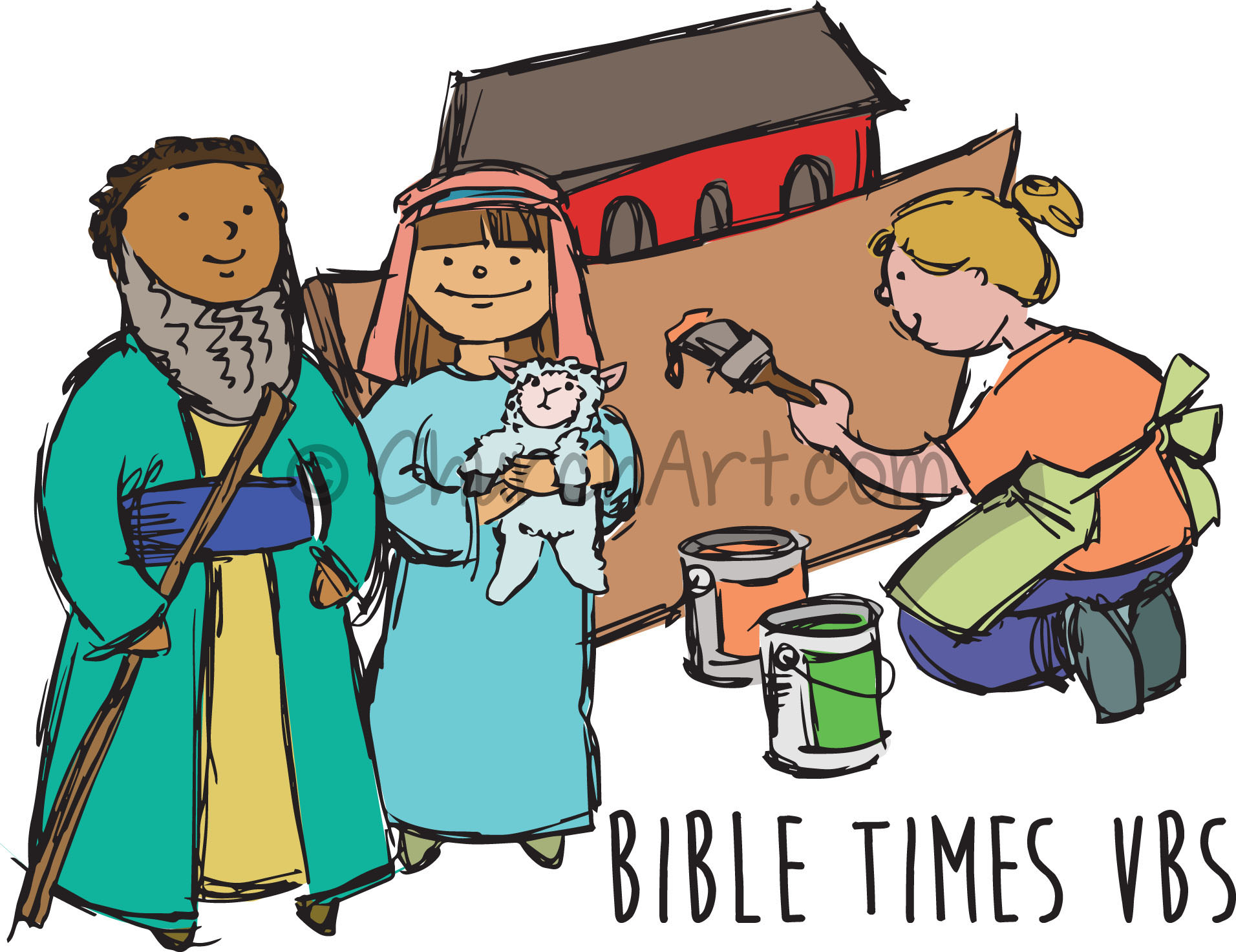 Vacation Bible School Clip-Art with children dressed as Bible characters, a girl painting Noah's ark and BIBLE TIMES VBS caption