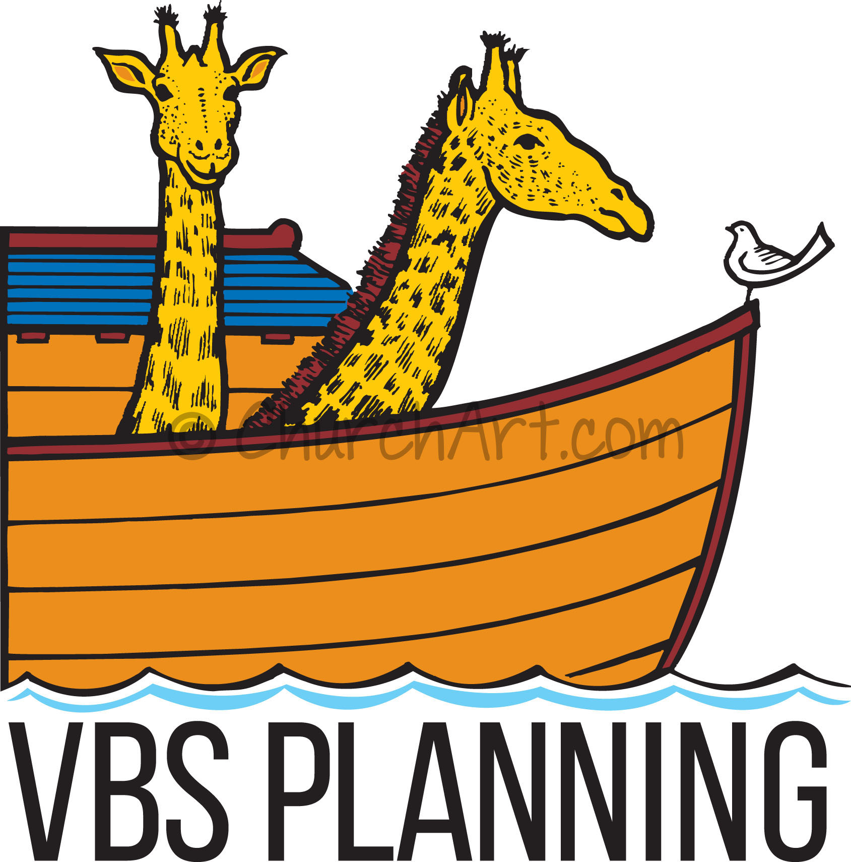 Vacation Bible School Clip-Art with image of ark and animals with VBS planning caption
