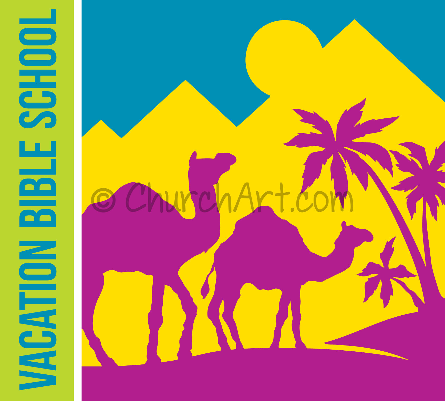 Vacation Bible School Clip-Art with camels, pyramids, palm trees and VACATION BIBLE SCHOOL caption