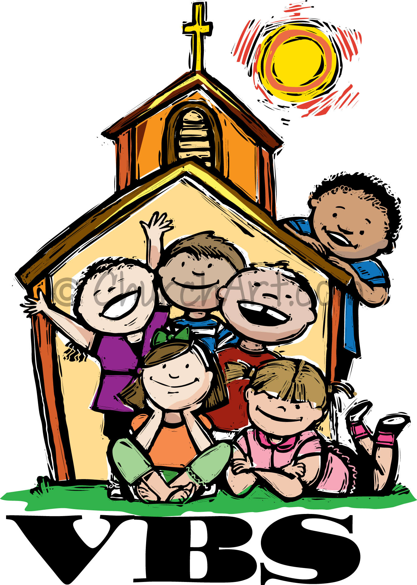 Vacation Bible School Clip-Art with several children in front of a church and VBS caption