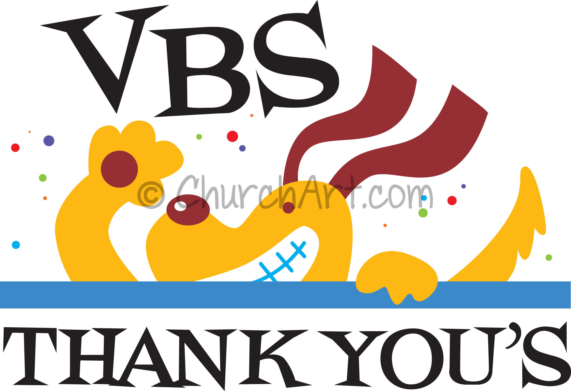 Vacation Bible School Clip-Art with dog and VBS THANK YOU'S caption