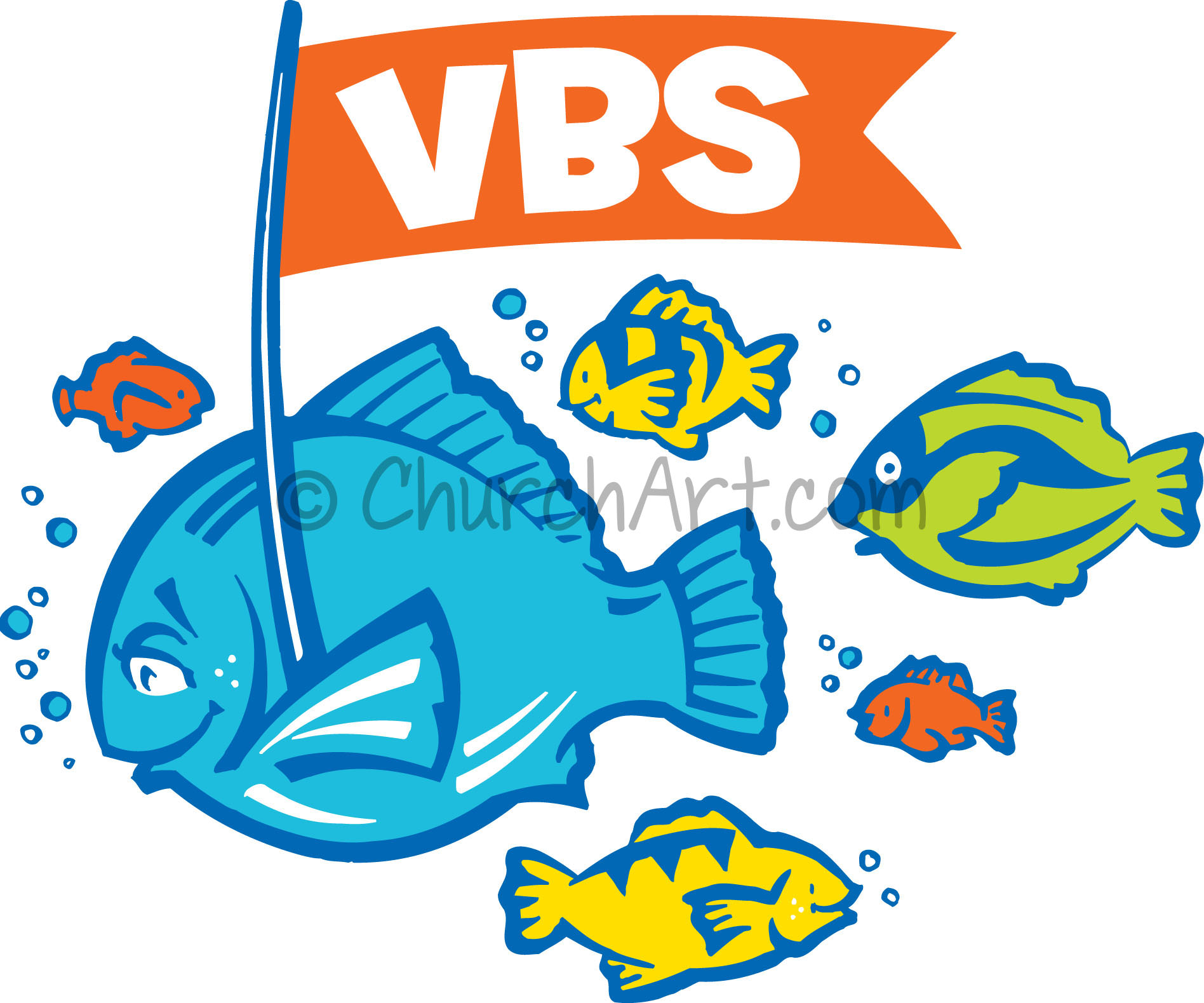 Vacation Bible School Clip-Art with several fish, one holding banner with VBS caption