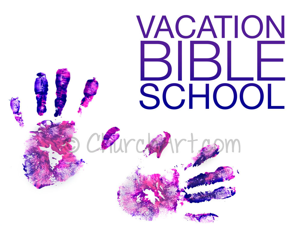 Vacation Bible School Clip-Art with hand prints and VACATION BIBLE SCHOOL caption