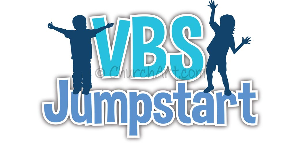 Vacation Bible School Clip-Art with silhouettes of boy, girl and VBS JUMPSTART caption