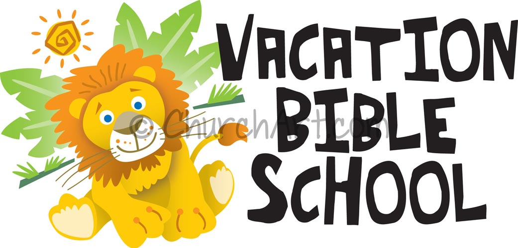 Vacation Bible School Clip-Art with lion cub and vacation bible school caption