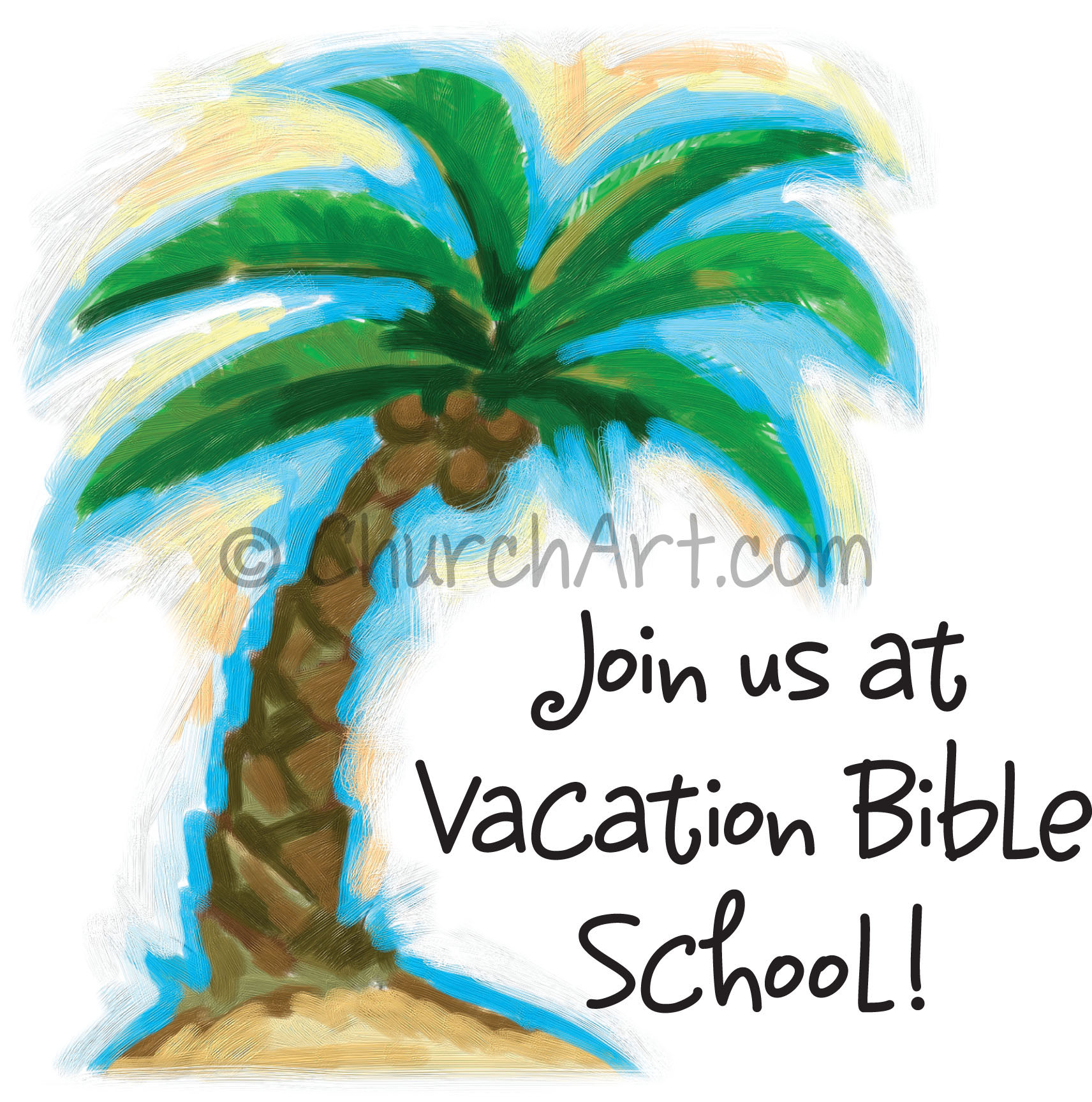 Vacation Bible School Clip-Art with palm tree and JOIN US AT VACATION BIBLE SCHOOL! caption