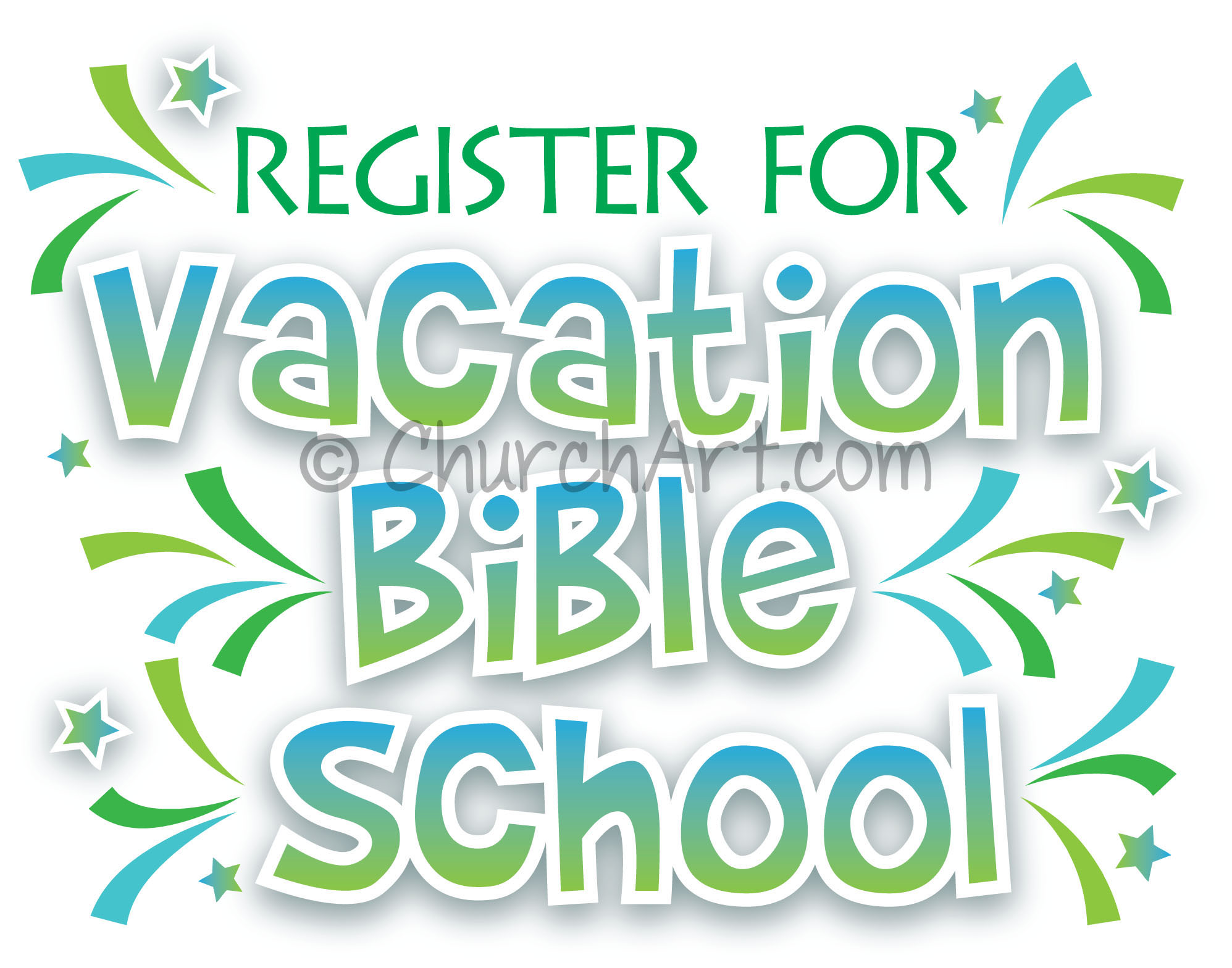 Vacation Bible School Clip-Art with Register for vacation bible school caption
