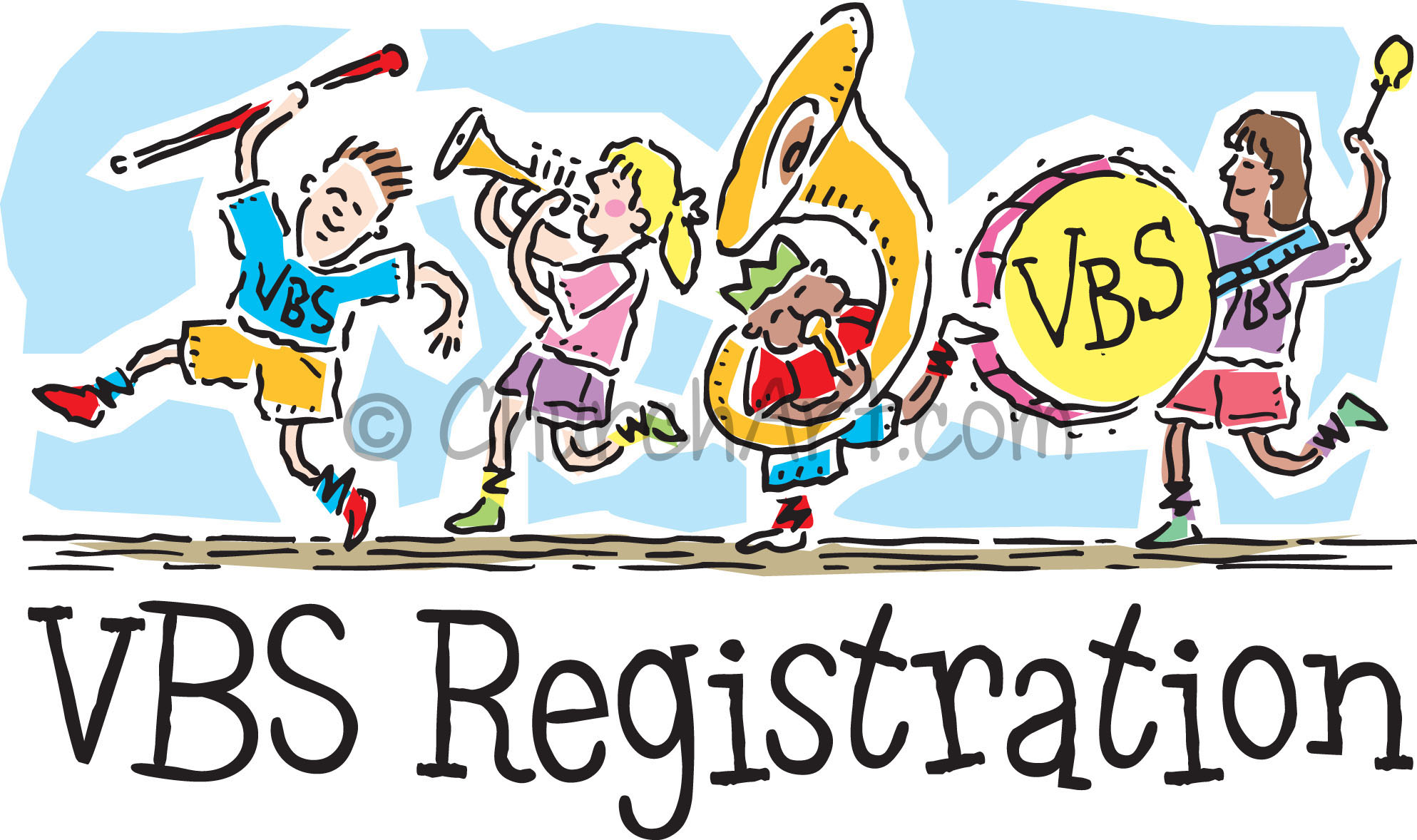 Vacation Bible School Clip-Art with children carrying musical instruments marching in a parade and VBS REGISTRATION caption