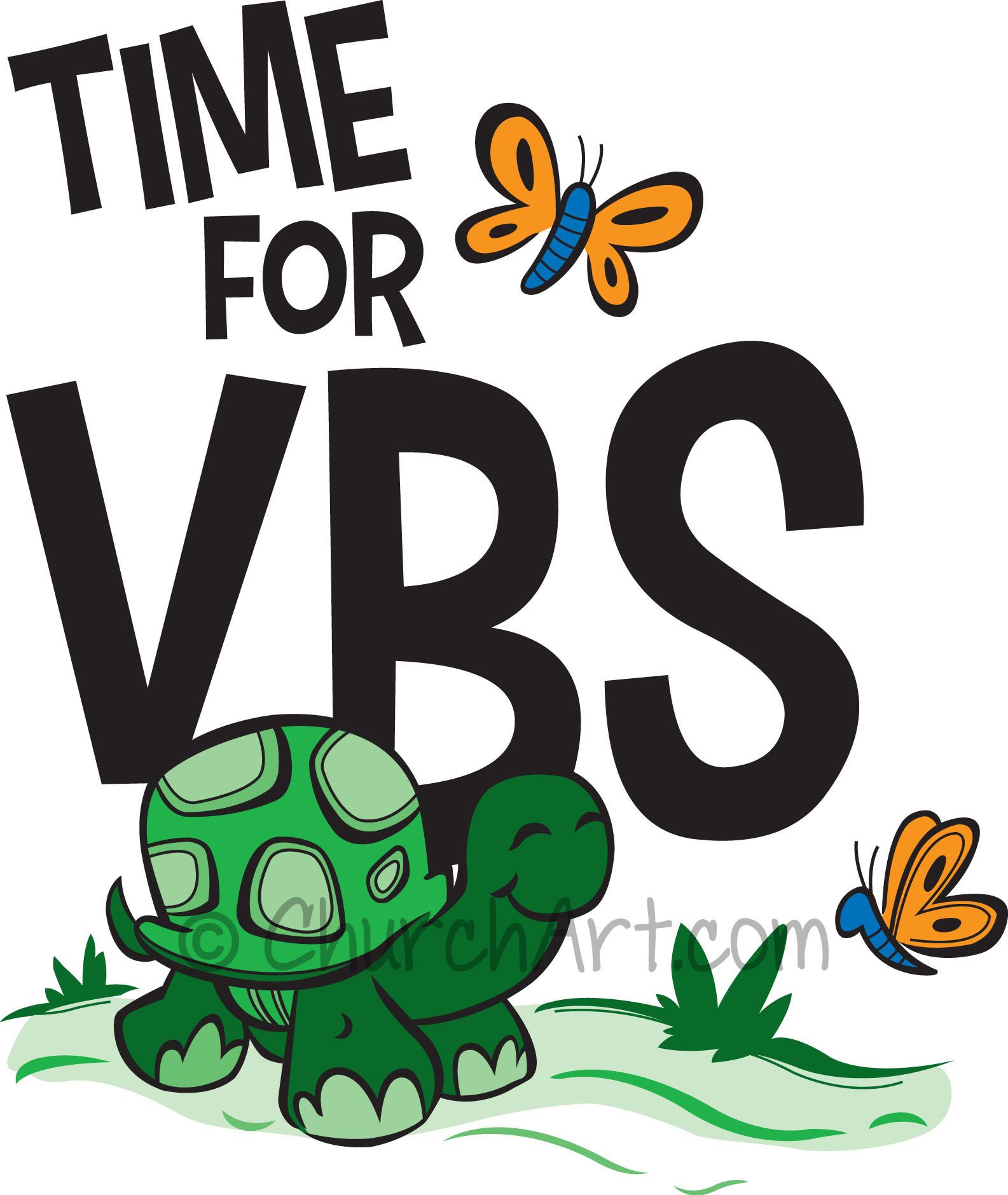 Vacation Bible School Clip-Art with turtle, two butterflies and TIME FOR VBS caption