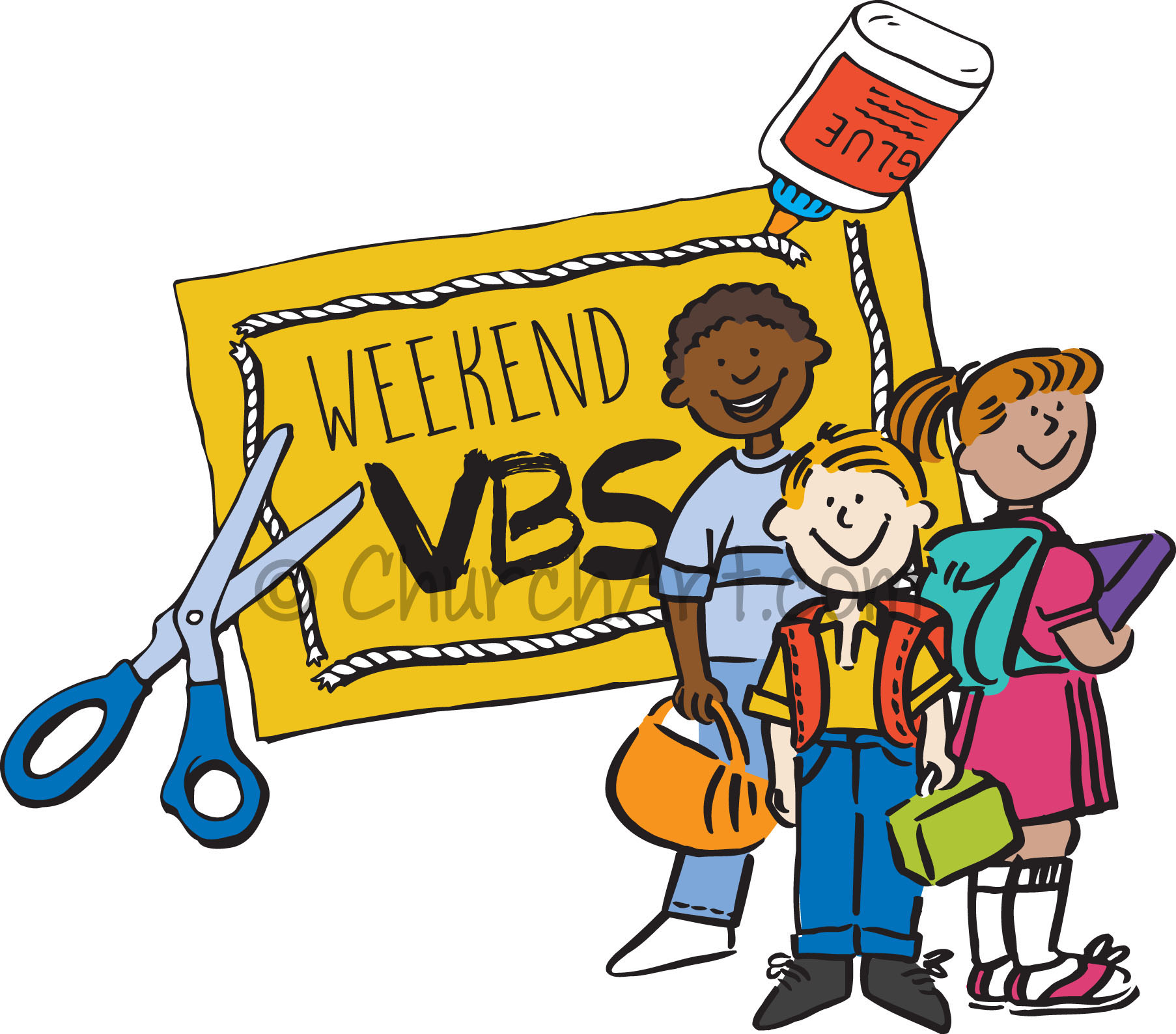 Vacation Bible School Clip-Art  with children, scissors, glue and WEEKEND VBS caption