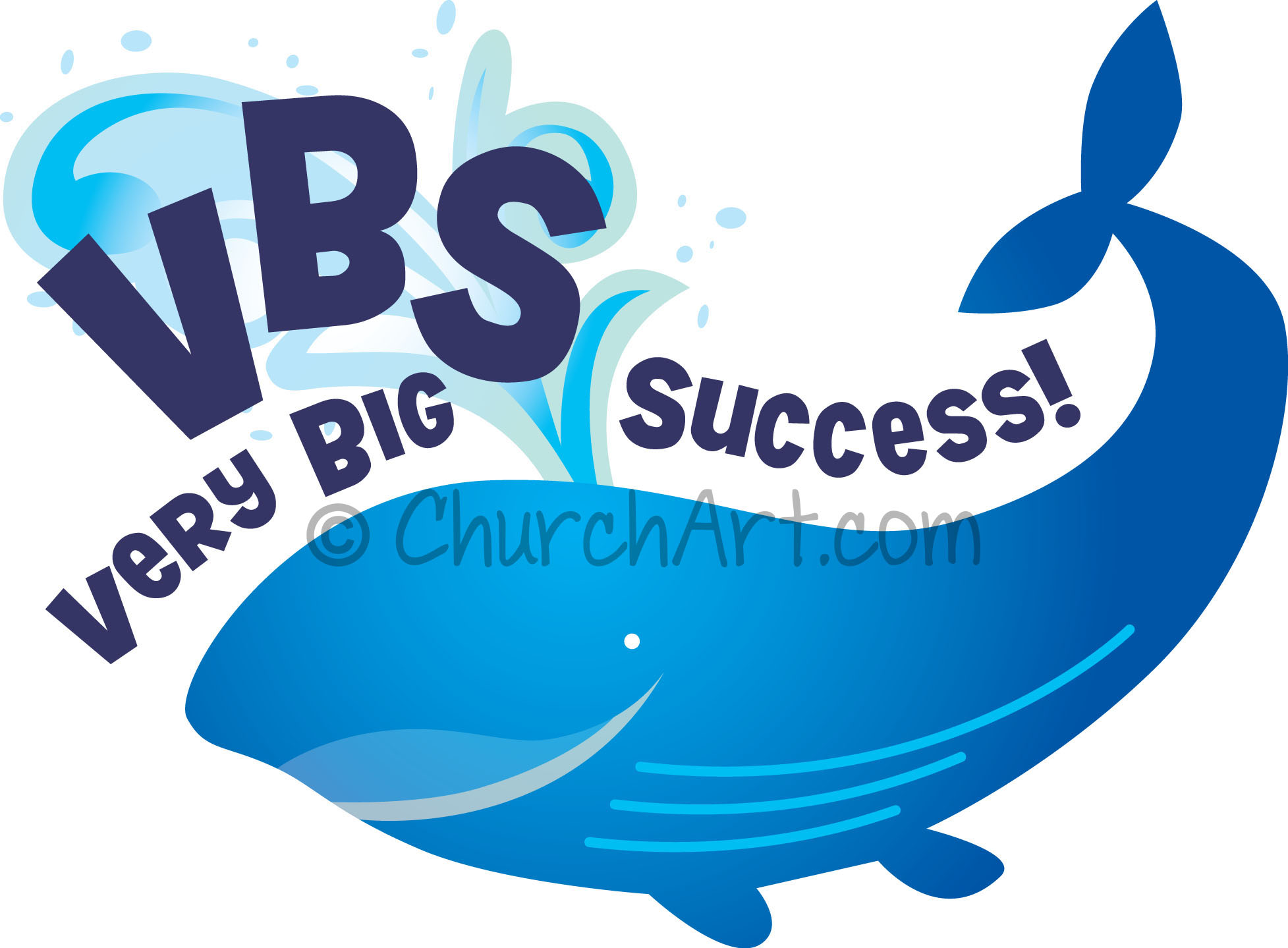 Vacation Bible School Clip-Art with whale blowing water and VBS VERY BIG SUCCESS! caption
