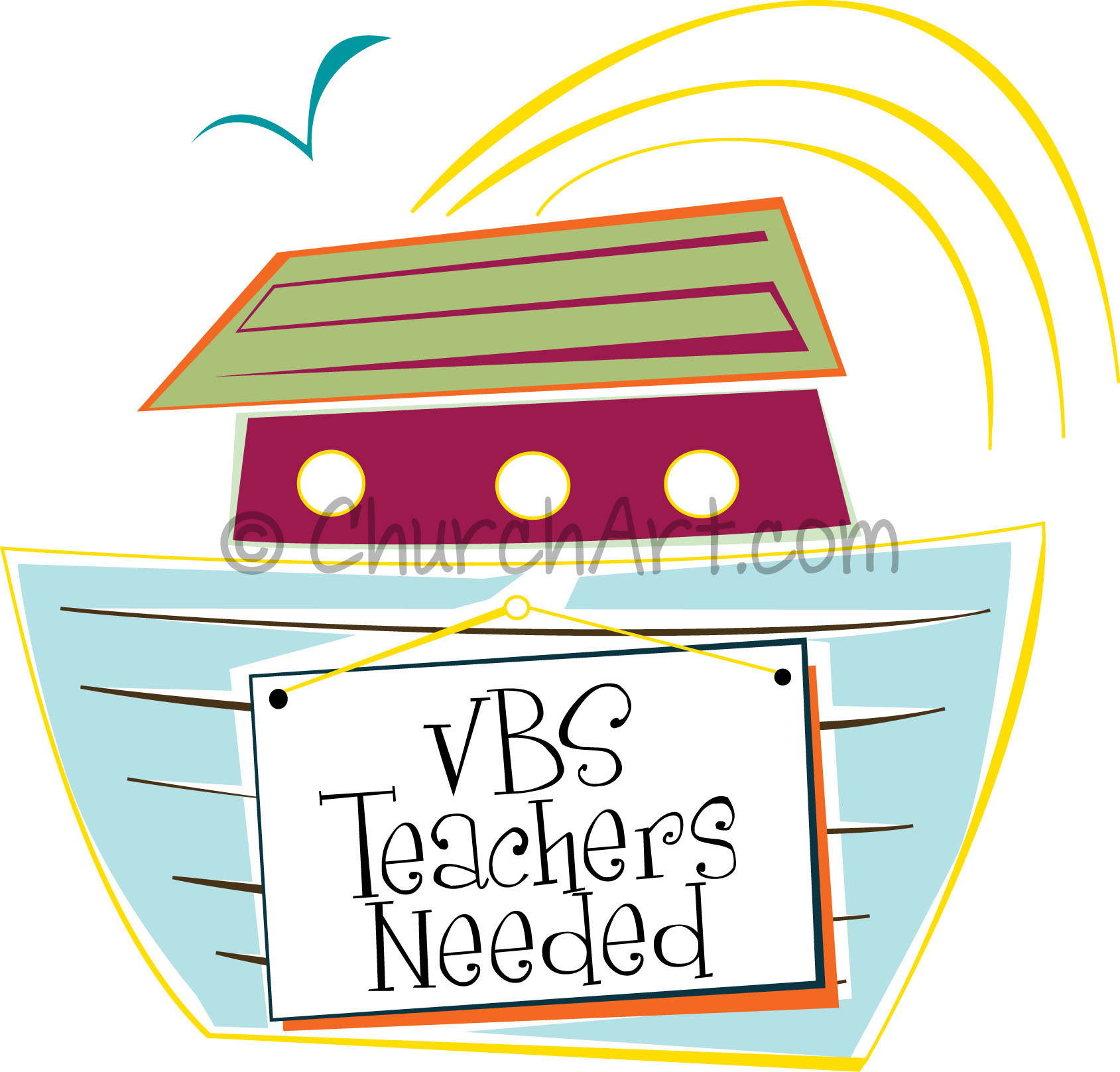 Vacation Bible School Clip-Art with ark image and VBS teachers needed caption