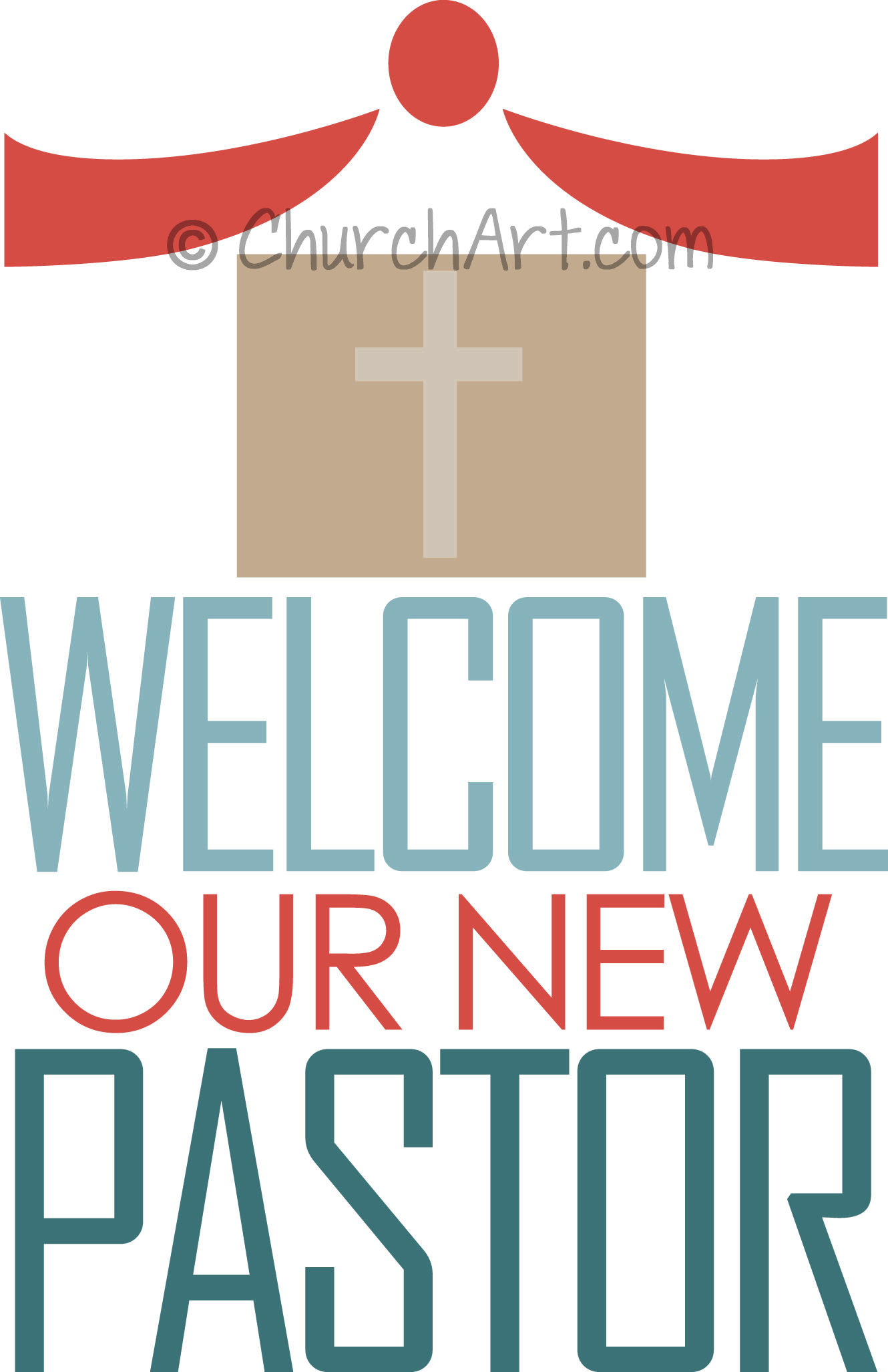 Clipart image with cross and pew to welcome a new pastor for church