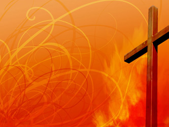 Cross with swirls and fire as background illustration