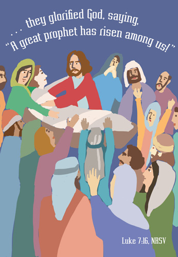 Church Bulletin Program Image of a crowd of people surrounding and praising Jesus and with Scripture verse: They glorified God, saying, A great prophet has risen among us! Luke 7:16, NRSV
