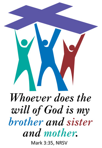 Church Bulletin Program Image of stylized people holding up a cross and with Scripture verse: Whoever does the will of God is my brother and sister and mother. Mark 3:35, NRSV