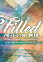 Church Bulletin Program Image of abstract watercolor shapes and with Scripture verse: All of them were filled with the Holy Spirit and began to speak in other languages, as the Spirit gave them the ability. Acts 2:4, NRSV