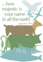 Church Bulletin Program Image of birds, horse, donkey, bull, ox, fish and with Scripture verse: How majestic is your name in all the earth! Psalm 8:9, NRSV