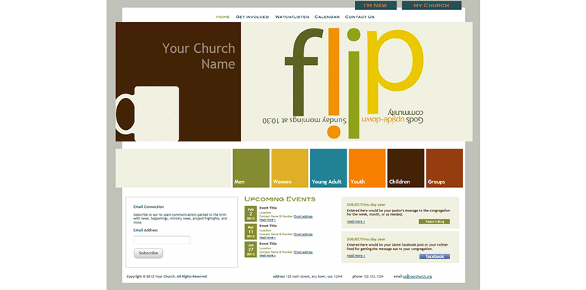 colorful church website template example