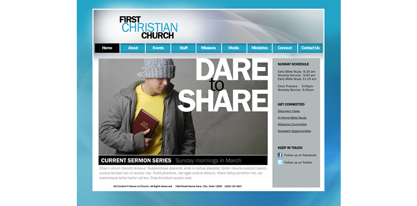 contemporary church website template example