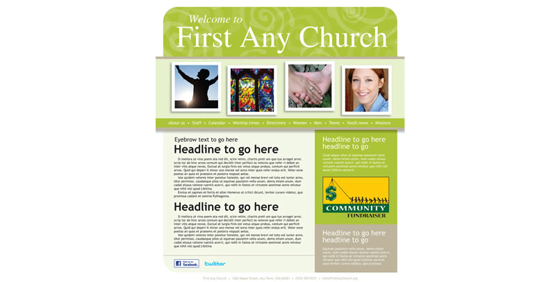 customizable church website template example