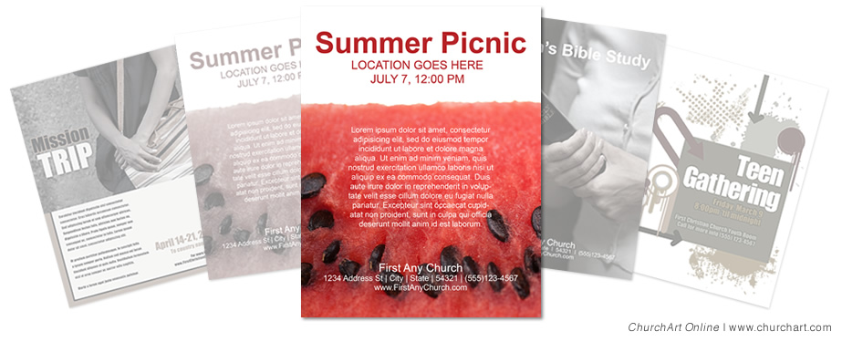 picnic church event flyer template